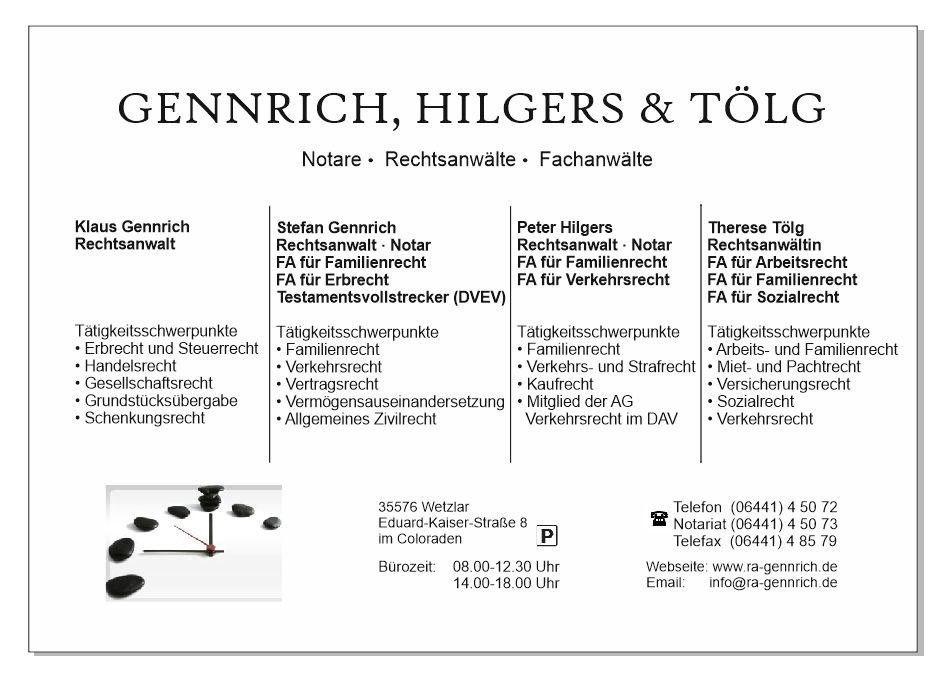Notar & Rechtsanwälte – Rechtsanwalt Gennrich – Hilgers – Tölg – Wetzlar